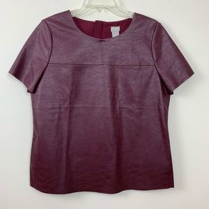 CHICOS 1 Faux Leather Top